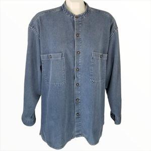 Quick Reflex Denim Button Down Long Sleeve Shirt